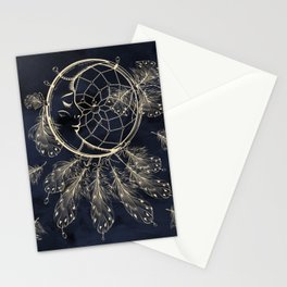 GOLDEN MOON IN DARK NIGHT Stationery Cards
