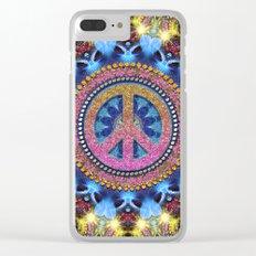 Groovy Hippie Love Mandala Clear iPhone Case