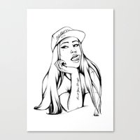 iggy azalea Canvas Prints featuring Iggy by Liz Cowling