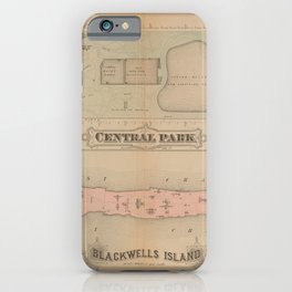 Central Park and Balckswell Island Antique 1879 Map  iPhone Case