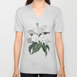 Painted Cream Calla Lilies Vector Unisex V-Neck