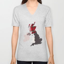 British Isles Fabric Map Art Unisex V-Neck
