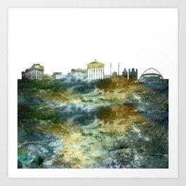 Athens City Skyline Greece Art Print