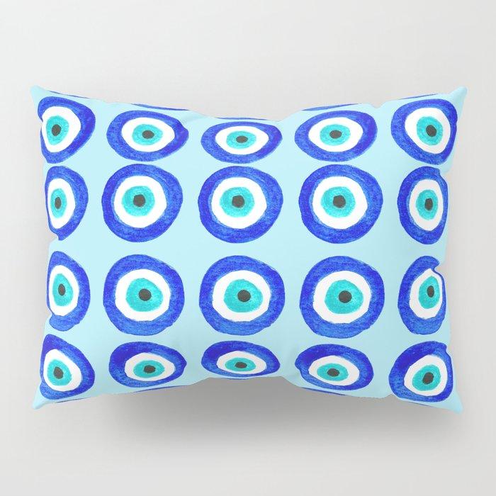 Evil Eye Amulet Talisman - on turquoise Pillow Sham