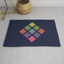 Classic Colorful Abstract Minimal Retro 70s Style Squares Rubik Cube Rug