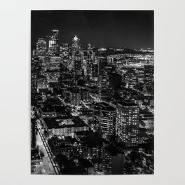 Seattle from the Space Needle in Black and White Poster