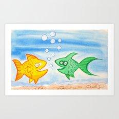 Yelow and Green HAPPY FISH! Art Print