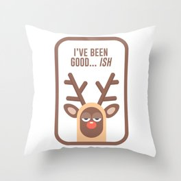 Rudolph Red Nose Reindeer Naughty Nice Good Bad List Funny Throw Pillow