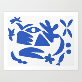 blue shapes on white background 2 Art Print
