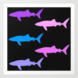 Sparkly Whale Sharks Art Print