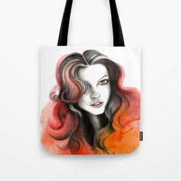 Red and Orange Flame Hair Tote Bag