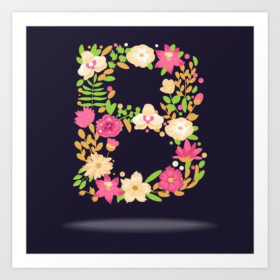 Floral letter B Art Print