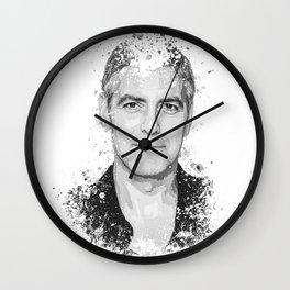 George Clooney splatter painting Wall Clock