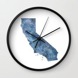 California Navy Blue Watercolor State Wall Clock
