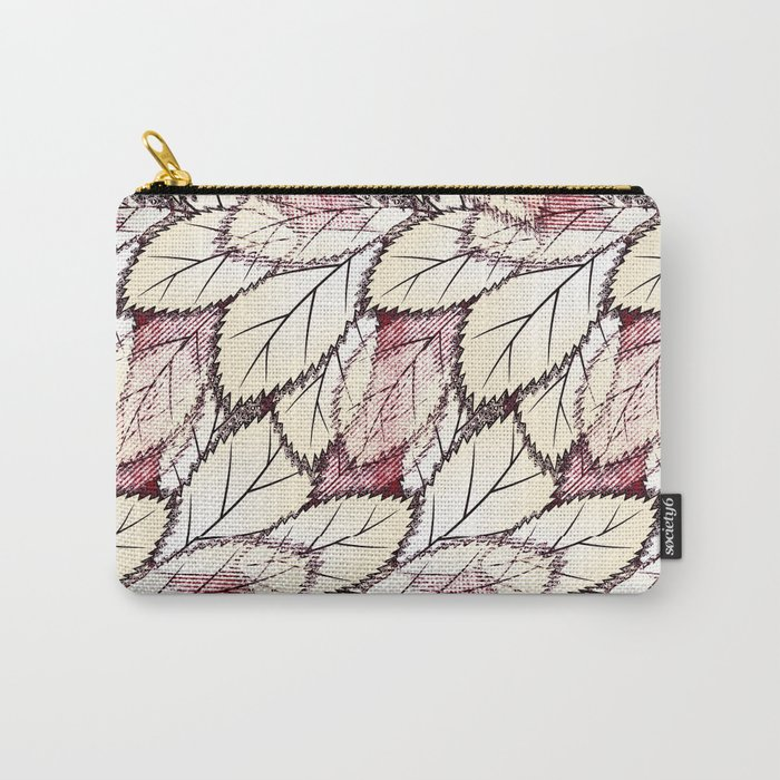 Delicate openwork leaves on a white , light brown background. Carry-All Pouch