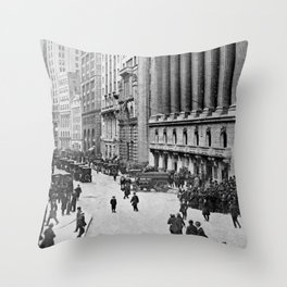 Vintage Wall Street NYC Photograph (1921) Throw Pillow