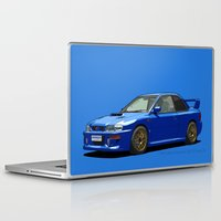 subaru Laptop & iPad Skins featuring Subaru Impreza 22B STI Type UK Sonic Blue by Digital Car Art