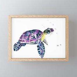 Sea Turtle, purple baby turtle illustration design Framed Mini Art Print