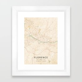 Florence, Italy - Vintage Map Framed Art Print