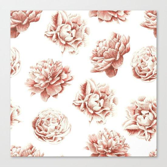 Rose Garden Vintage Rose Pink Cream and White Canvas Print