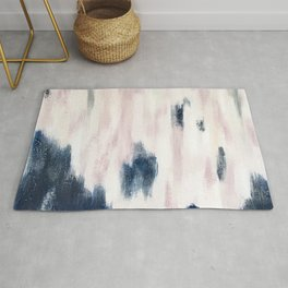 Blush Pink and Blue Pretty Abstract Rug
