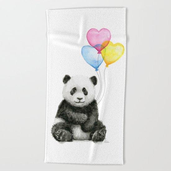 Panda Baby with Heart-Shaped Balloons Whimsical Animals Nursery Decor Beach Towel