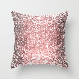 Rose Gold Sparkling Lights Throw Pillow