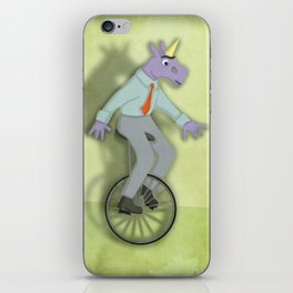 Unibrow Unicorn on Unicycle iPhone Skin