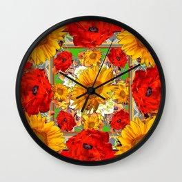 RED POPPY FLOWERS & SUNFLOWERS ARTWORK Wall Clock