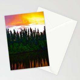 Summer Sun Almost Sets in Alaska Stationery Cards