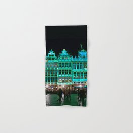 Bruxelles buildings under green lights Hand & Bath Towel