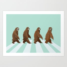Sloth The Abbey Road in Green Art Print