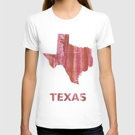 Texas map outline Indian red stained wash drawing T-shirt
