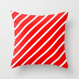 Diagonal lines - red and white. Throw Pillow