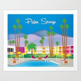 Palm Springs, California - Skyline Illustration by Loose Petals Art Print