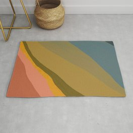 Waves In Color Shades | Abstract Shape Design In Fall Tones Rug
