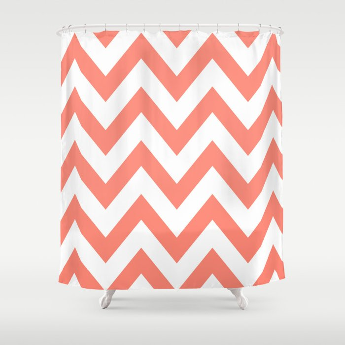 CORAL CHEVRON Shower Curtain by nataliesales