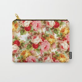 Boho chic pink yellow red roses floral vintage painting Carry-All Pouch