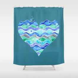 A Sea of Love (blue) Shower Curtain