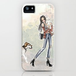 Fall Day stroll Pets iPhone Case