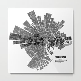 Tokyo Map Metal Print