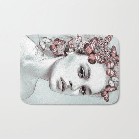 Woman with butterflies Bath Mat