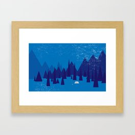 Sleeping in the blue mountains under a blanket of snow Framed Art Print