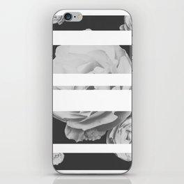 White Stipe Roses iPhone Skin
