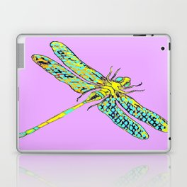 Yellow & Aqua Fantasy Dragonfly in Ambient Lilac-Pink  Laptop & iPad Skin