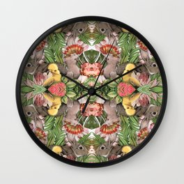 Bunny Cockatoo Kaleidoscope Wall Clock