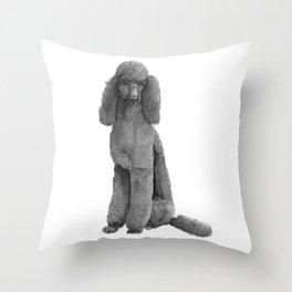 Poodle - standard black Throw Pillow