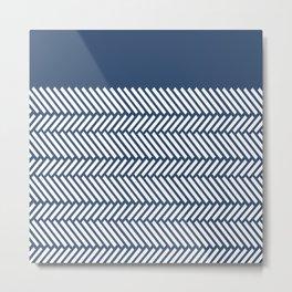 Herringbone Boarder Navy Metal Print