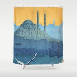 Mid Century Modern Travel Vintage Poster Istanbul Turkey Grand Mosque Shower Curtain