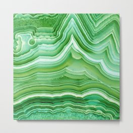 Agate crystal green Metal Print